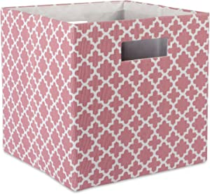 "DII Hard Sided Collapsible Fabric Storage Container for Nursery, Offices, & Home Organization, (13x13x13"") - Lattice Rose"
