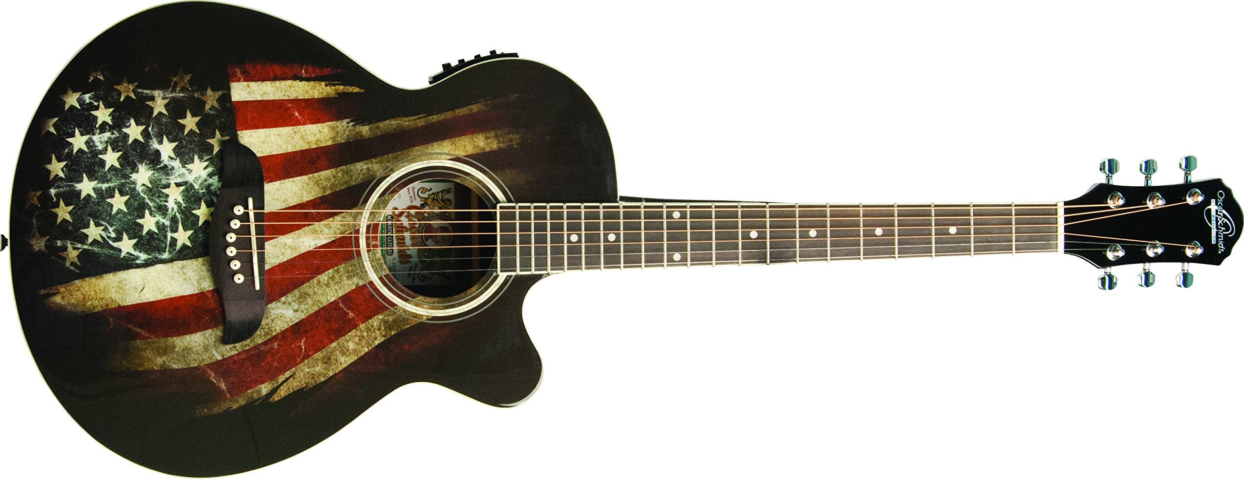 Oscar Schmidt 6 String OG10CE Cutaway Acoustic-Electric Guitar. USA Flag Graphic (OG10CEFLAG-A