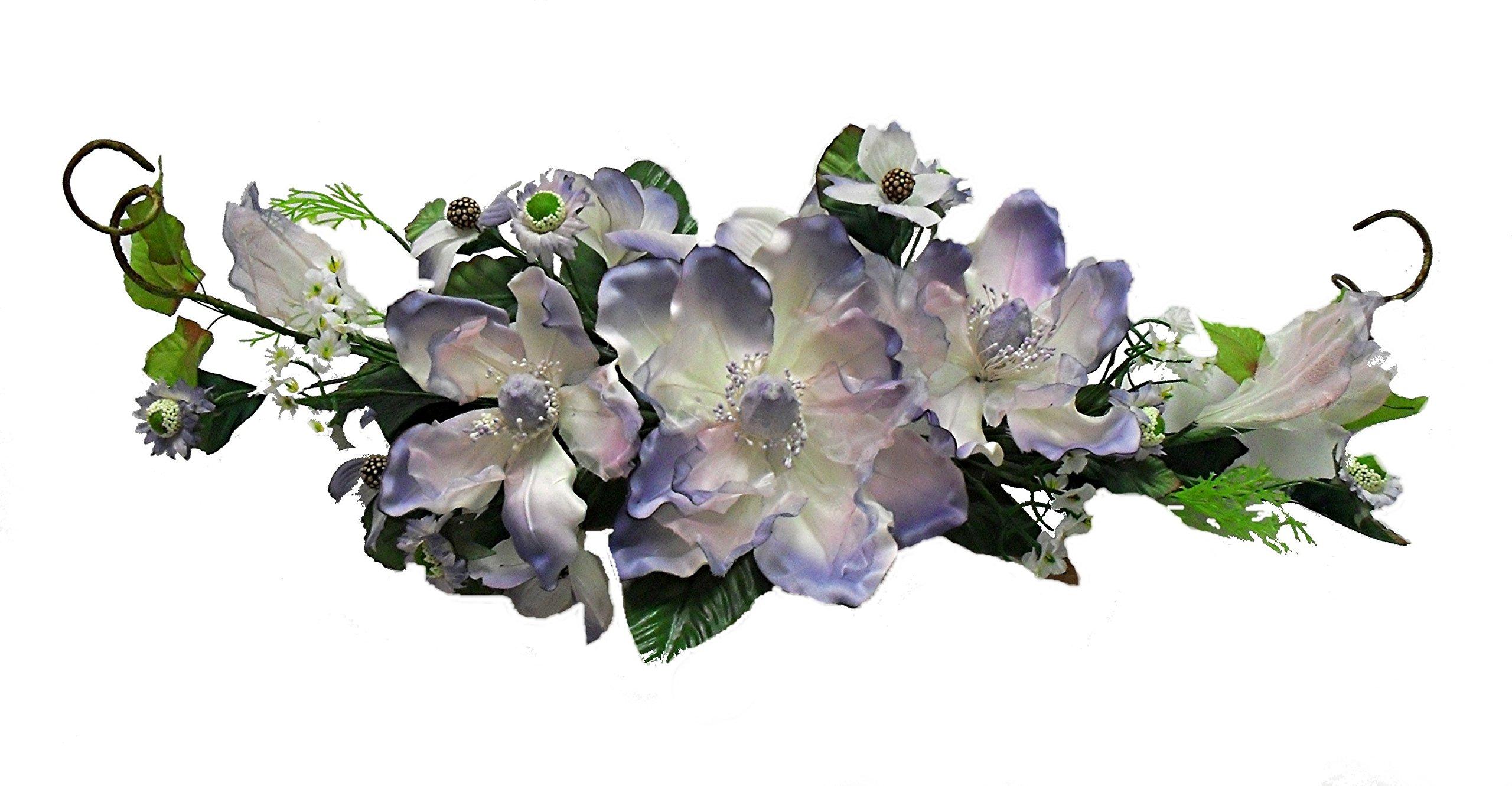 Wholesale Silk Floral Crinkle/Sheer Magnolia Swag, 26'', Lavender