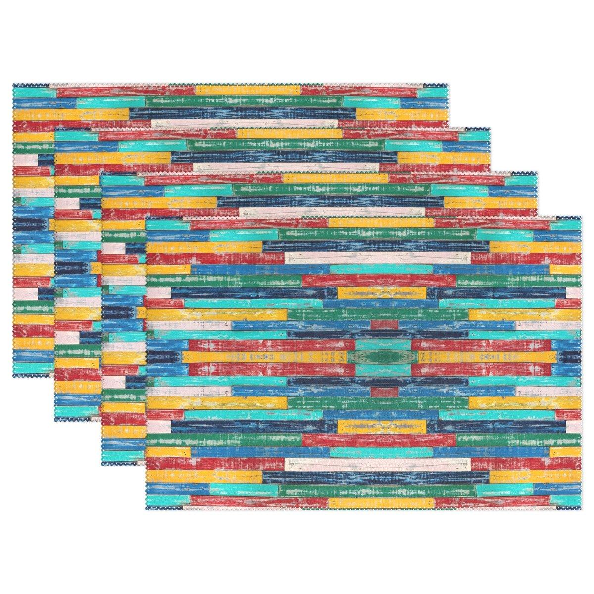 naanle木製プレースマット、カラフルな木製耐熱Washableテーブルデコレーションを配置用マットキッチンダイニングテーブル 12*18inch 1211338p145c160s252 6 マルチカラー B07588JJ9M
