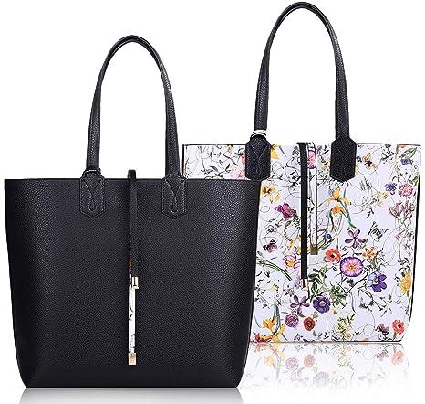 COOFIT Borse Donna, Borsa Shopping Donna Grandi Capacità Moda Tote Nera Eleganti Borse a Spalla