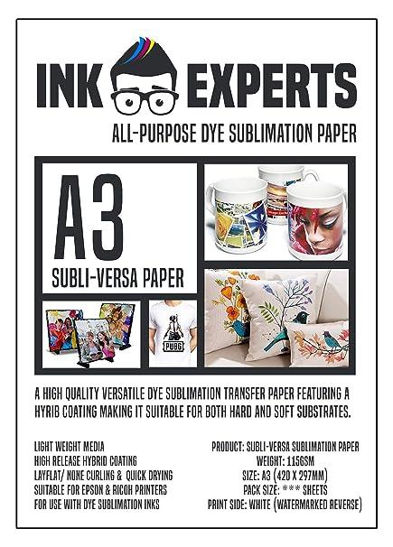 Ink Experts Subli-Versa - Papel de sublimación (A3, 115 g/m² ...