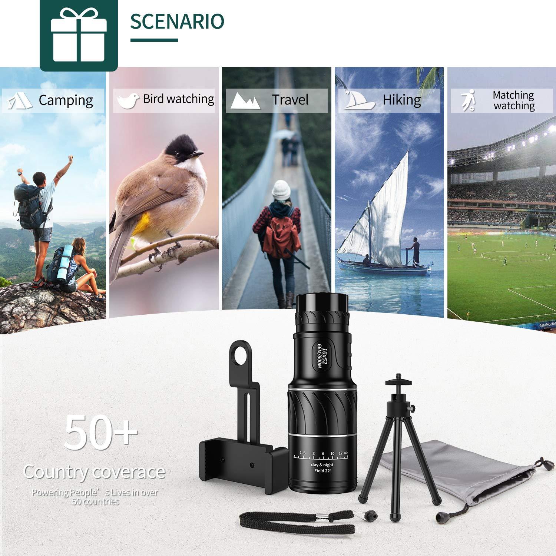 HD 16x52 Alto Voltaje con tr/ípode con soporte para tel/éfono inteligente para adultos Impermeable Vision nocturna Enfoque para observaci/ón de aves Telescopio monocular acampar viajar