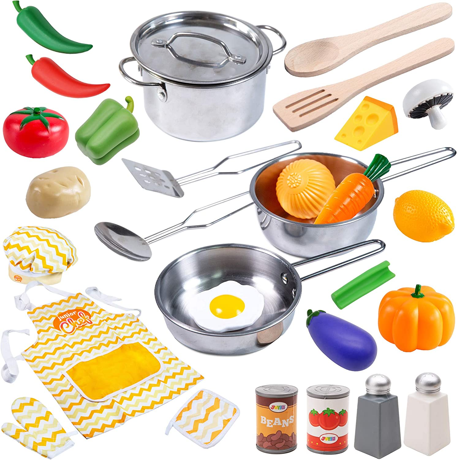 Amazon Com Joyin 29 Pcs Play Kitchen Accessories Kids Pots And Pans Playset Toy Kitchen Sets With Stainless Steel Cookware Set Cooking Utensils Apron Chef Hat And Grocery Play Food Sets Gift For Kids