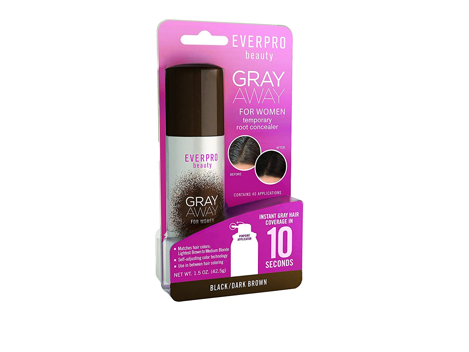 Everpro Gray Away Temporary Root Concealer, Black/Dark Brown 1.5 oz 1301