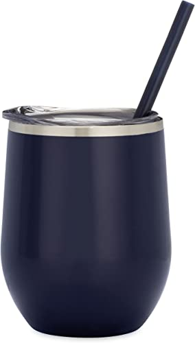 12 oz Stainless Steel Wine Tumbler Sippy Cup with Lid and Straw Navy