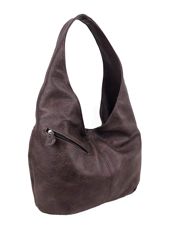Alicia Women Retro Purses Fgalaze Genuine Wash Brown Leather Hobo Bag