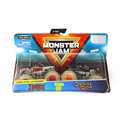 Monster Jam, Official Zombie vs. Captain's Curse Die-Cast Monster Trucks, 1:64 Scale, 2 Pack: Toys & Games