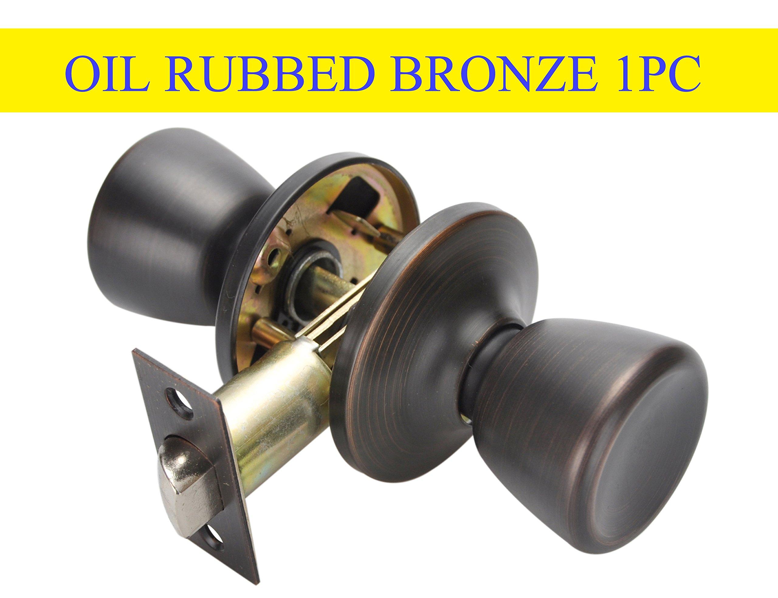 Oil Rubbed Bronze Door Knobs,Classic Passage Door Knob Hall and Closet Handle Lock,Oil Rubbed Bronze Passage