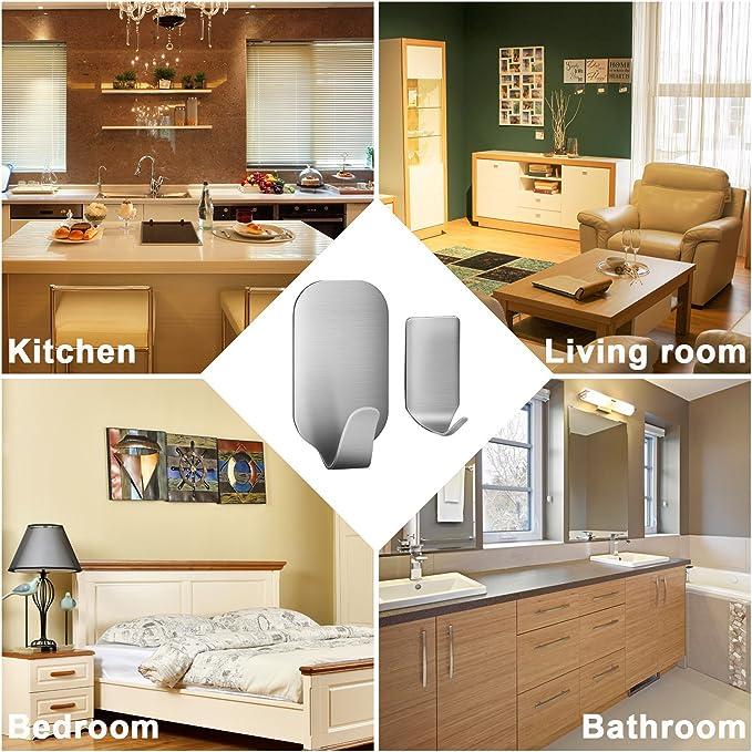 amoner adhesivo ganchos, 8 pequeños + 8 grandes 3 m bolsas de teclas de ganchos de pared, perchero de pared con gancho de acero inoxidable fuerte adhesivo 3 m para baño cocina (