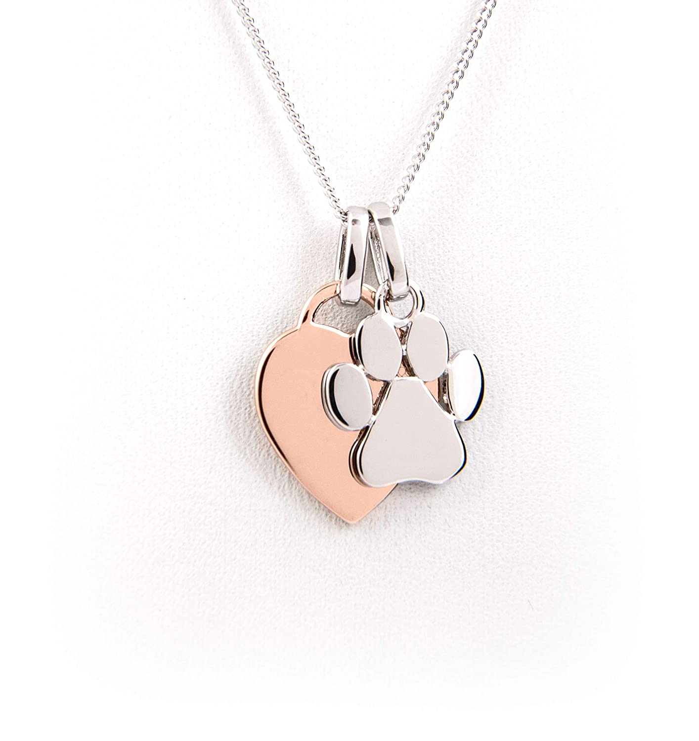 fa9eb94a476a1 Heart & Paw Print Necklace - Rose Gold Plated Silver - Dog Lover Gift, Dog  Paw Charm, Pet Memorial, Dog Memorial, Dog Loss, Dog Jewelry