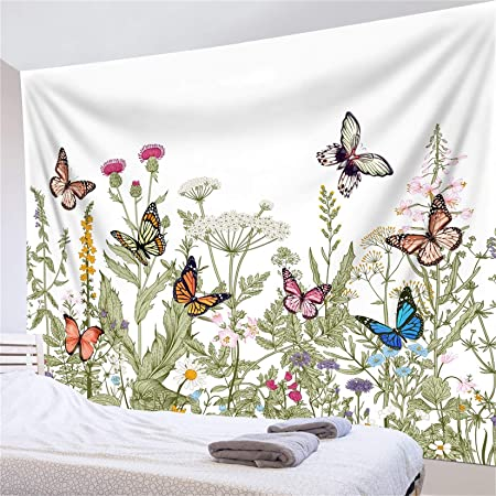 Watercolor Flowers Butterfly Tapestry Wall Hanging Home Decor Bedspread Cover