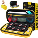 Case for Nintendo Switch Lite - Orzly Protective Carry Case with Storage for Switch Lite Games & Accessories [Yellow]