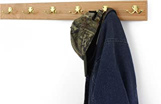 """product image for PegandRail Oak Coat Rack with Solid Brass Double Style Hooks (Natural, 30.5"""" x 3.5"""" with 6 Hooks)"""