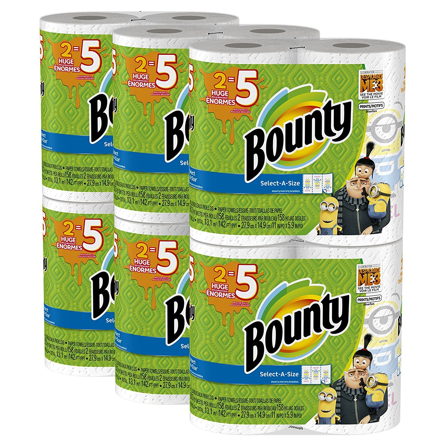 Bounty Despicable Me 3 Select-A-Size Paper Towels with Minion Prints GyoDud, Huge Roll, 3 Pack (12 Count Minions Print)