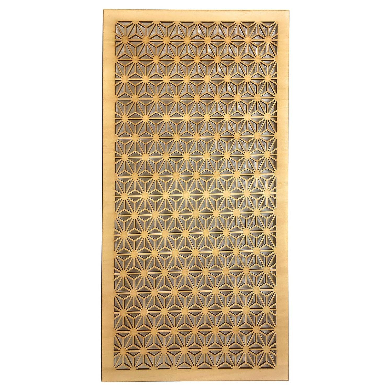 ウォールデコ 組子調 和風アートパネル 木製 シナ合板 (麻の葉大) 60x30cm B07KFTJWM1  麻の葉(大)