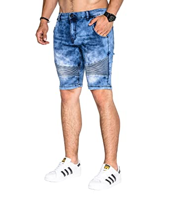 66a93c650322 BetterStylz DucaBZ Herren Denim Jogger Shorts Jogg-Jeans Kurze Slim Fit Hose  Acid Wash  Amazon.de  Bekleidung