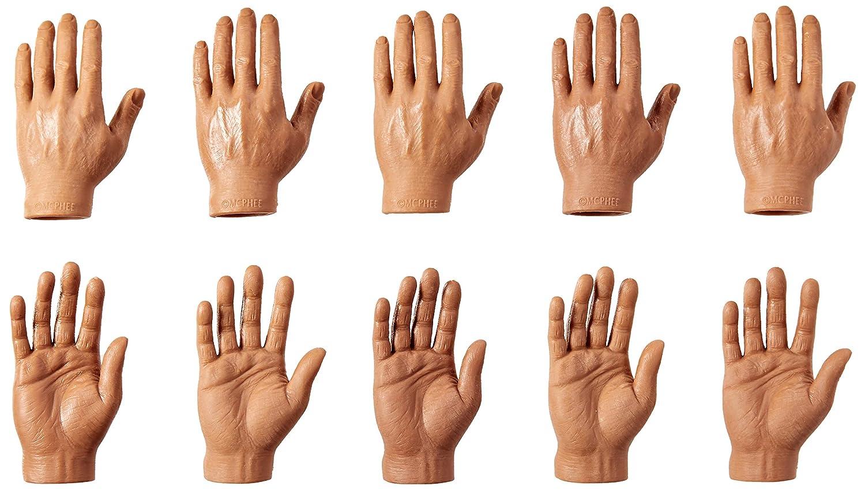 Accoutrements Set of Ten Dark Skin Tone Finger Hands