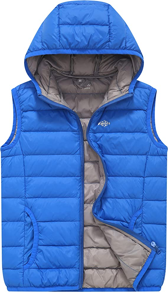 Wantdo Boys Winter Hooded Puffer Vest Warm Thicken Fleece Lined Sleeveless Jacket
