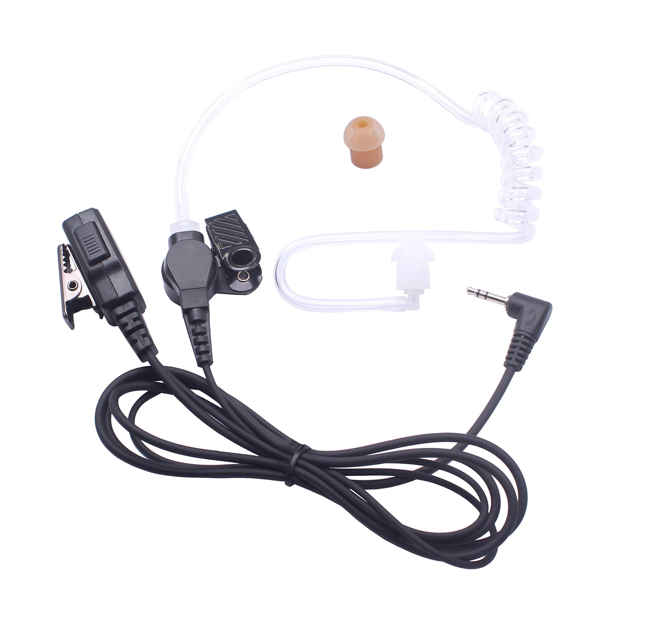 Bingle 1 Pin Covert Acoustic Tube Earpiece Surveillance Headset with PTT & Mic for Motorola Two Way Radio Walkie Talkies(MRT-M2)