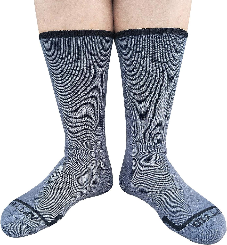 APTYID Mens Moisture Control Cushion Crew Work Boot Socks 6 Pairs