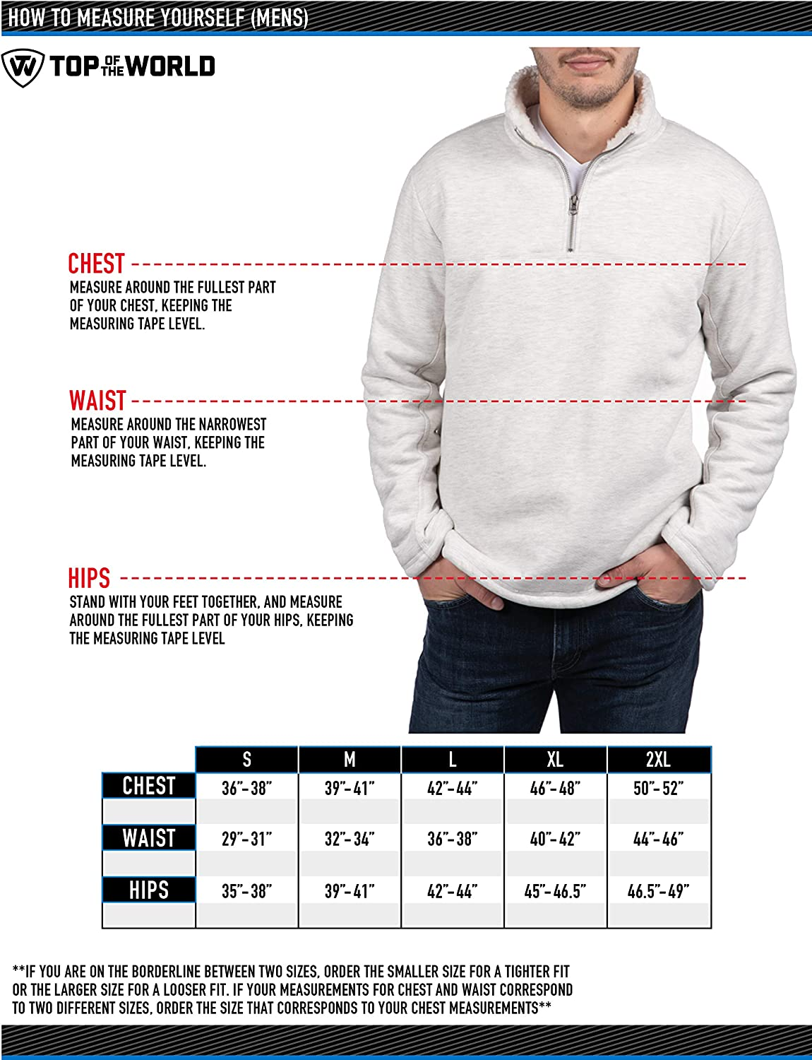 Top of the World Mens Pikes Sherpa Lined 1//2 Zip Pullover