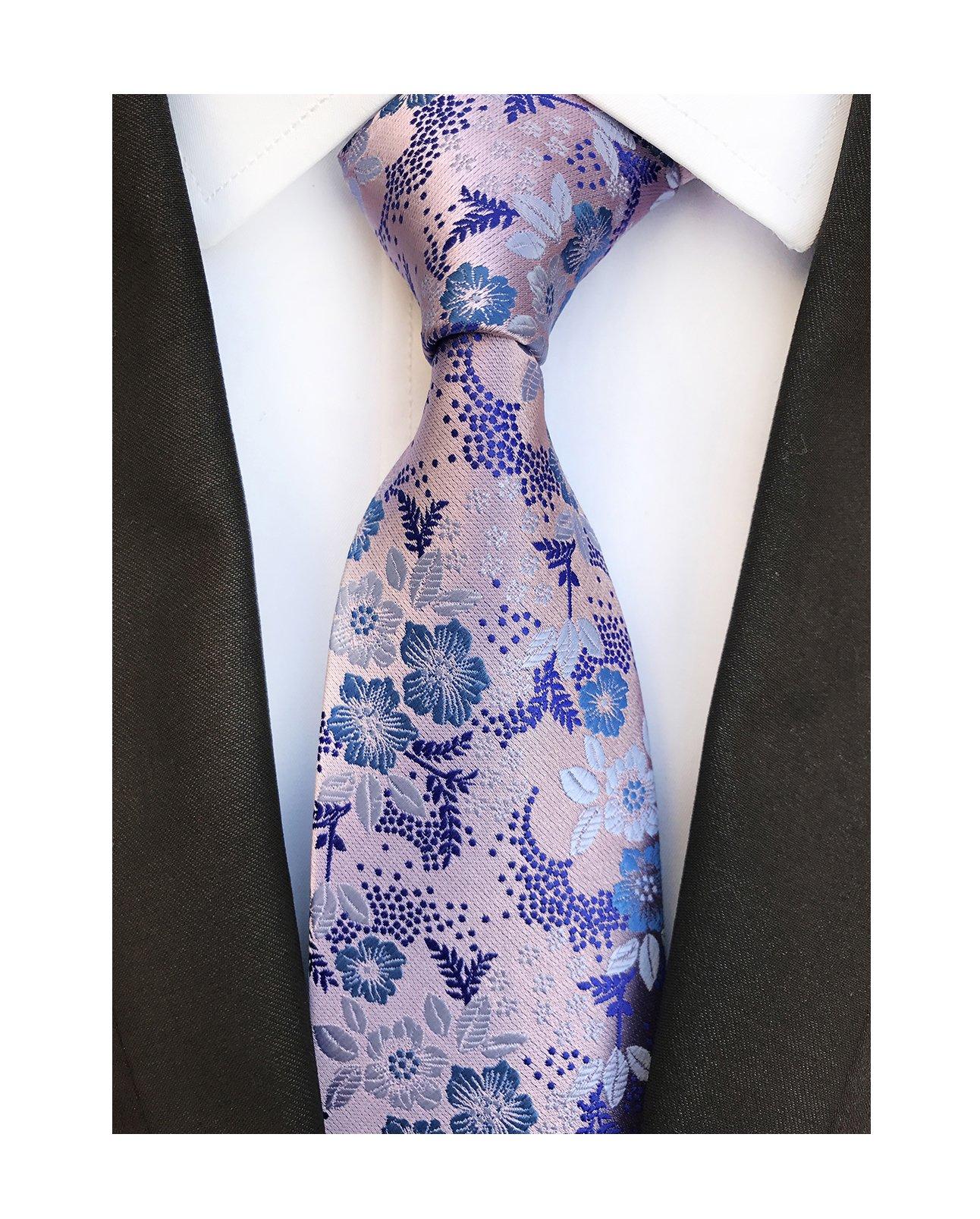 Mens Silk Pink Blue Tie Summer Cool Gentleman Party Jacquard Self Cravat Necktie