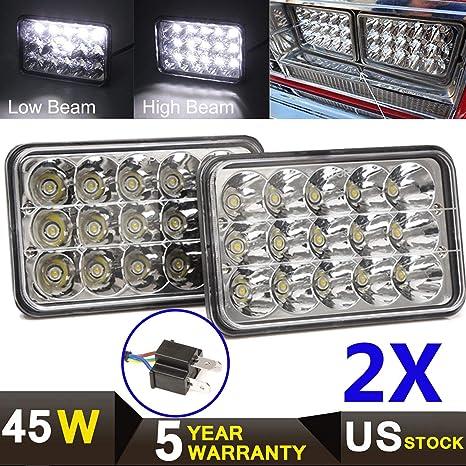 2pcs H4 LED Light Bulbs 7x6 Square Headlight 6000K Super White For Chevrolet