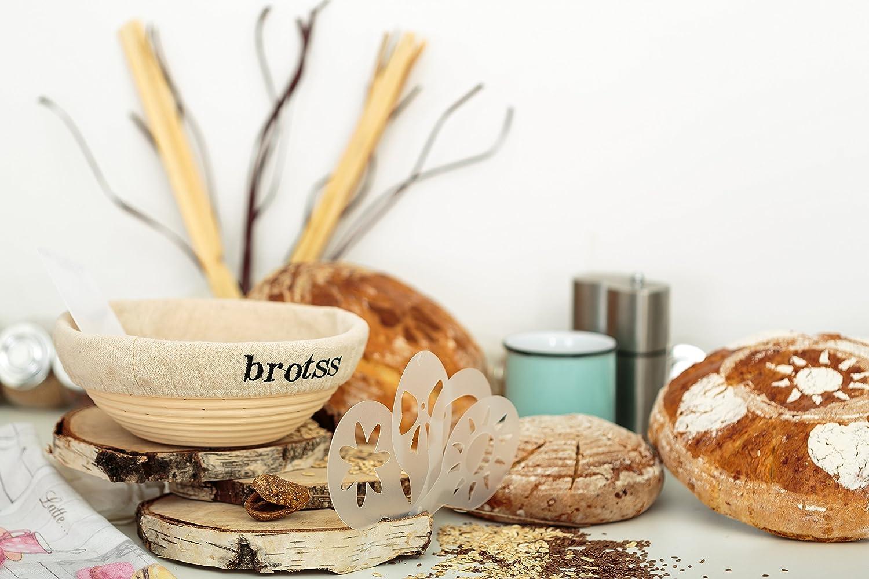 Brotform Rising Making Round Baked Crispy Dough Crust Boules Loaf Bowl Scraper for Bakers//Sourdough Recipe Cloth Liner Linen Bread Lame 10 Artisan Stencils 15 items Banneton Proofing Basket Set