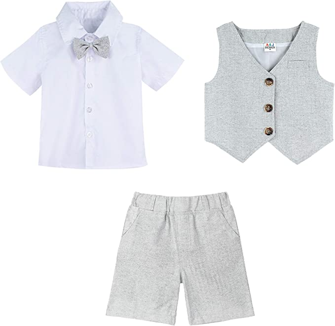famuka 3 Piezas Trajes de Beb/és Ni/ños Chaleco Camisa con Pajarita Pantalones Ni/ño Caballeros Bautismo Boda Conjuntos de Ropa