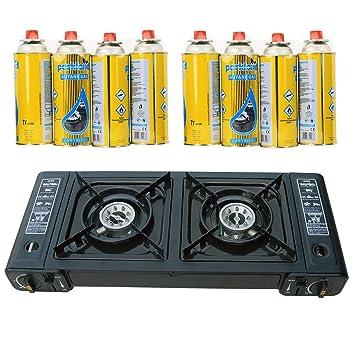 Portátil Dual Doble quemador de camping Butano gas estufa cocina + 8 GAS recambios: Amazon.es: Deportes y aire libre