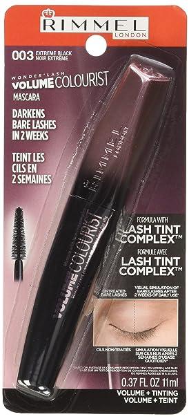 cfa52563b99 Amazon.com : Rimmel Volume Colourist Mascara, Black, 0.37 Fluid Ounce Tube,  Gradual Lash Tinting Mascara, for Lashes that Darken with Every Application  : ...