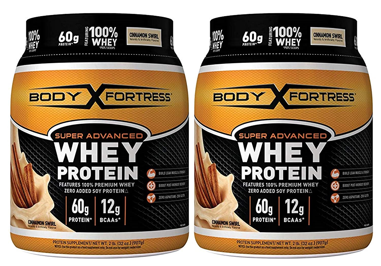 Body Fortress Super Advanced Whey Protein Powder, Gluten Free, Cinnamon Swirl, 2 lbs 2 Pack