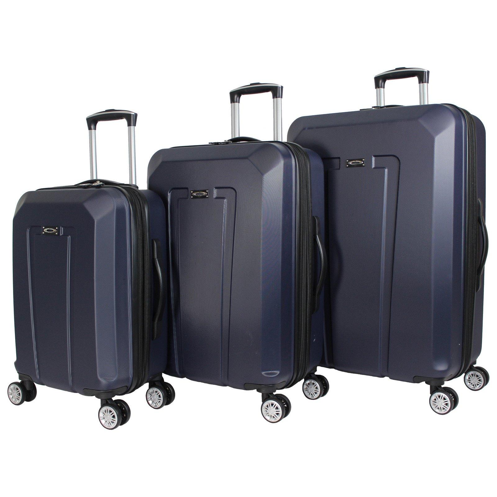 Kemyer 3-Piece Hardside Upright Spinner Rolling Luggage Set - Navy