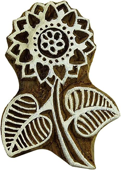Floral Wooden Textile Stamps Hand Carved Printing Stamp Decorative Brown Block