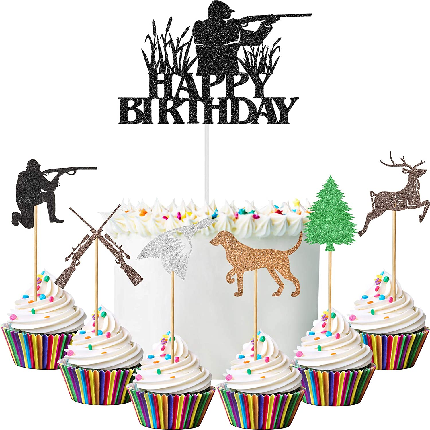 61 Pieces Hunting Cake Topper Set Hunting Birthday Silhouette Cake Topper Forest Hunting Theme Glitter Cupcake Topper Deer Handmade Cupcake Topper for Birthday Party Baby Shower Cake Decor