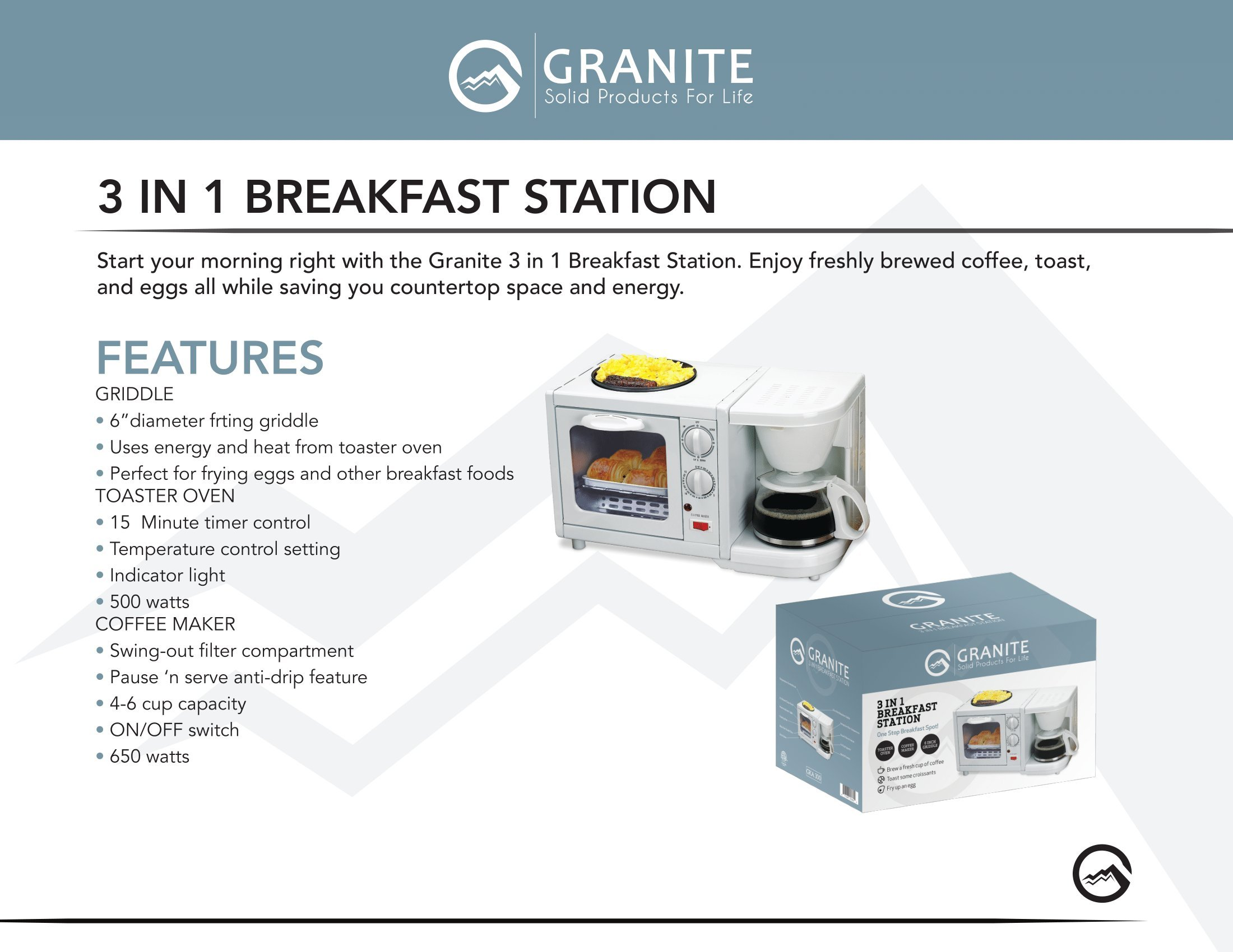 Granite Platinum Deluxe Portable 3-in-1 Family Size Multifunctional Breakfast Station by Granite (Image #3)