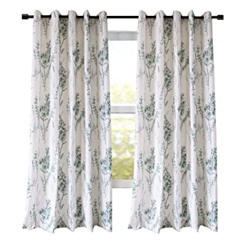 Blue Sage Curtains Living Room Drapes - Anady 2 Panel Beautiful Curtains  Grommet Drapes 96 inch Length