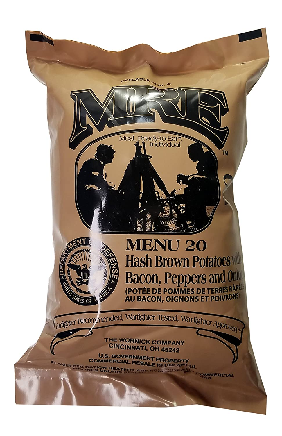 Hash Brown Potatoes with Bacon MRE Meal - Genuine US Military Surplus Inspection Date 2020 and Up