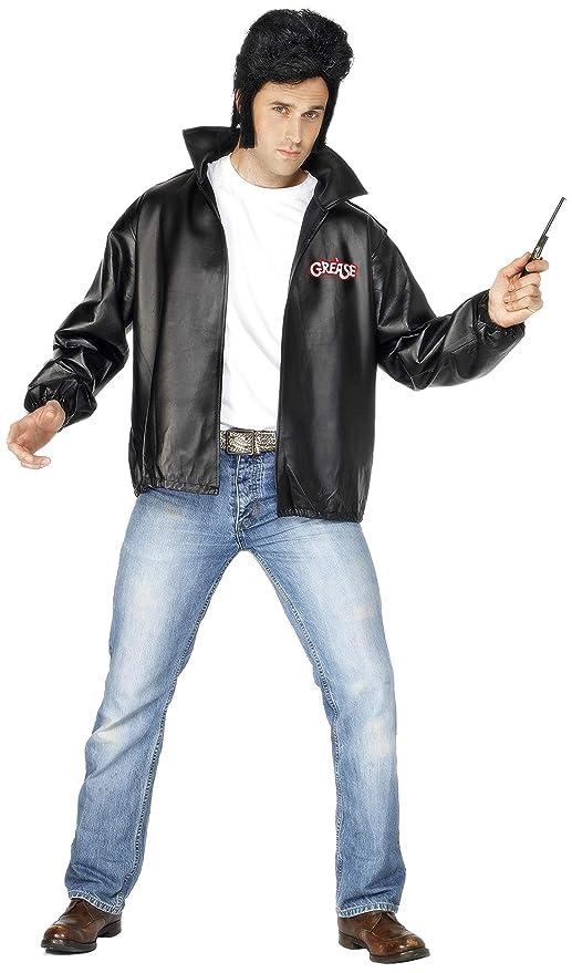 Smiffys Licenciado oficialmente Cazadora de los T-Birds de Grease, Negra, con logotipo bordado: Amazon.es: Juguetes y juegos