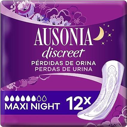 Oferta amazon: Ausonia Discreet Plus Maxi Noche, Compresas para Pérdidas De Orina, para Vejigas Hiperactivas X12