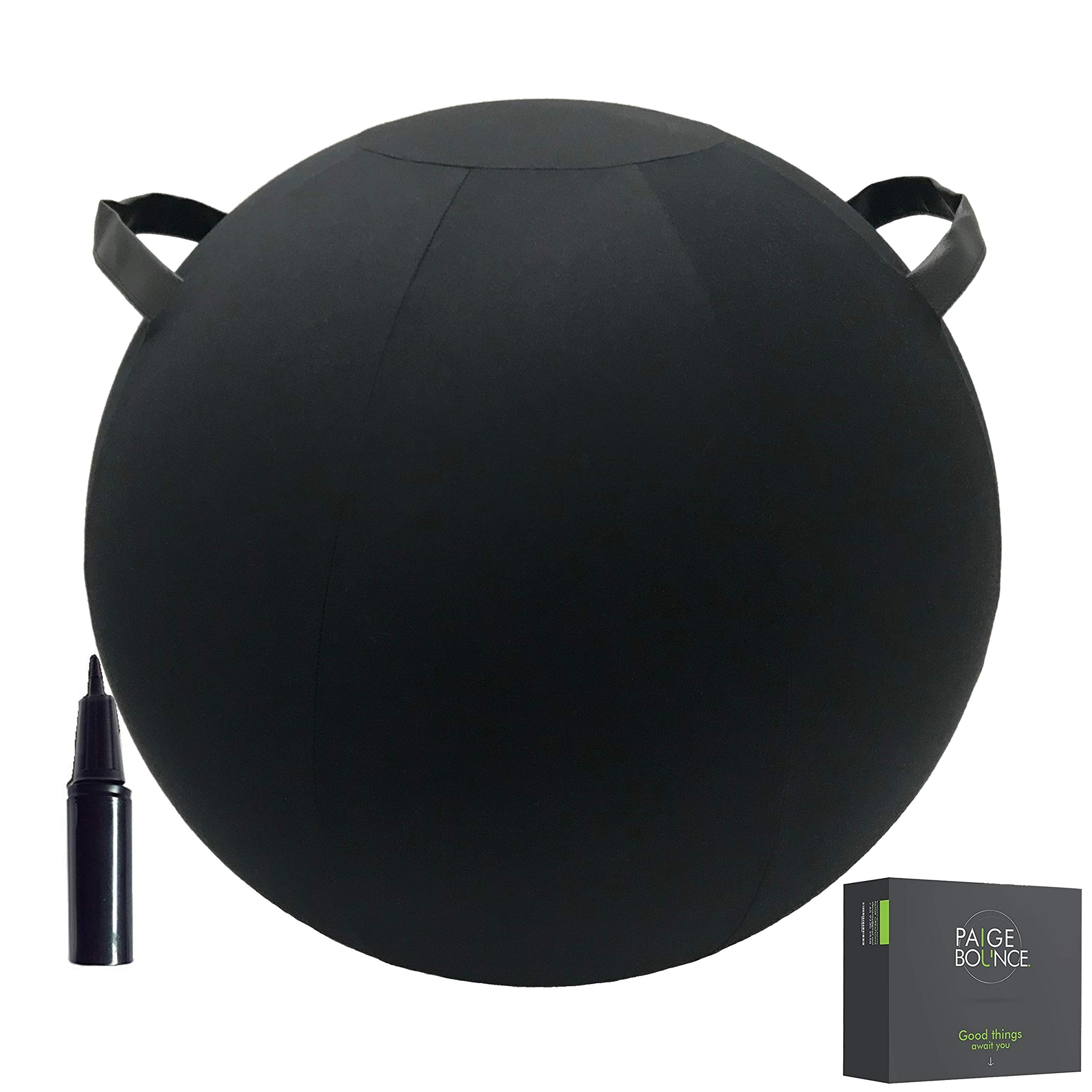 Sitting Ball Chair - Machine Washable 26-inch Firmer Exercise Ball Chair with Two Handles, Quick Pump Included - Self-Standing with Stability Beads Inside - for Birthing, Fitness, Pilates, Yoga