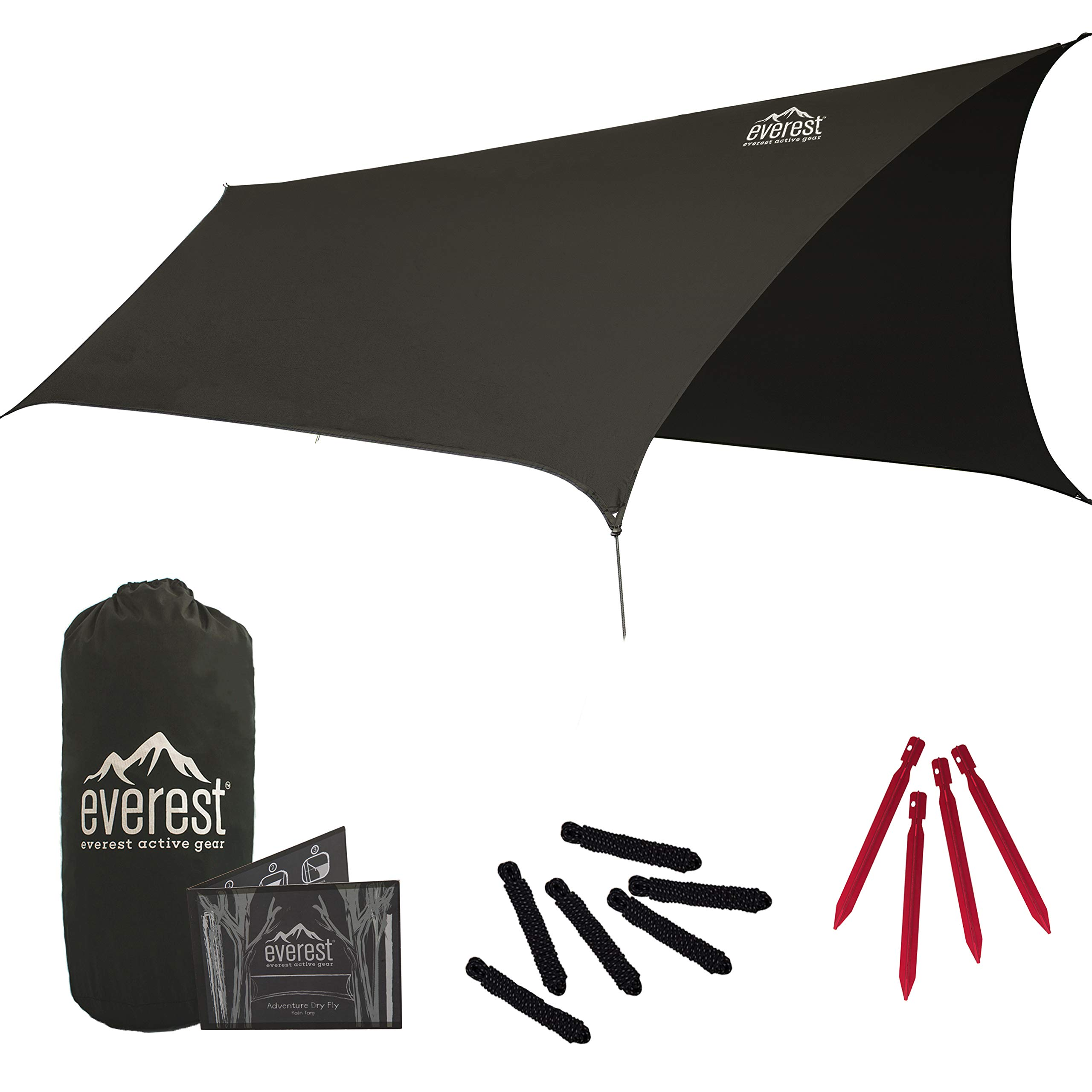 Everest Hammock Rain Fly | Waterproof Outdoor Tarp | Perfect for Camping, Backpacking, Tents, Hammocks, and More | Ripstop Nylon | Lightweight Aluminum Stakes Included- Gray by everest active gear