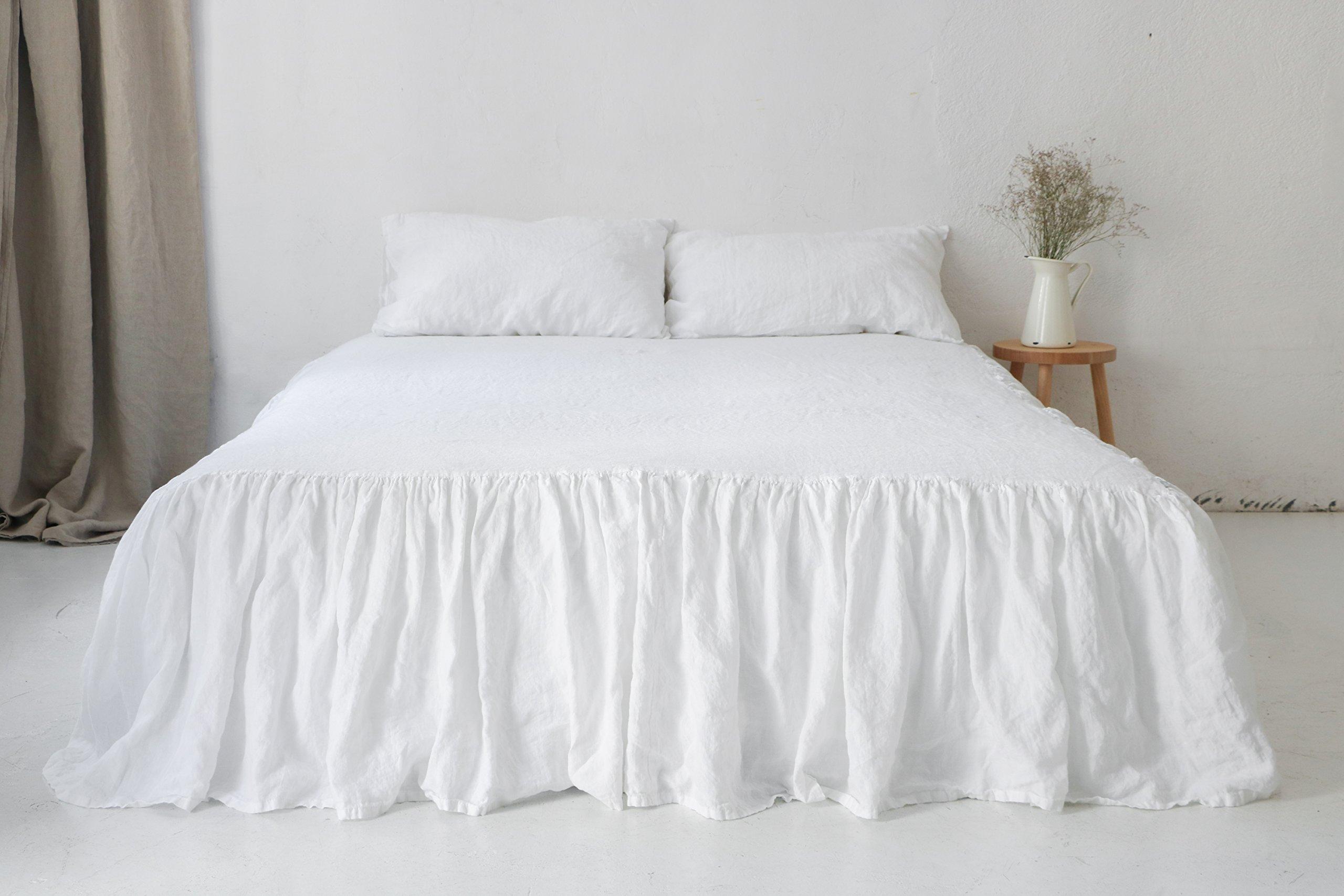 White linen BEDSKIRT. Linen dust ruffle. White linen coverlet. Stonewashed linen bed skirt. by so linen! s.c.