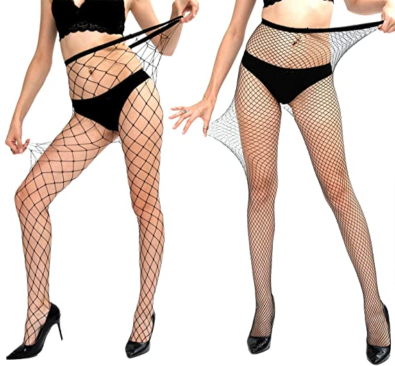 de5bc4d395675 MERYLURE Black Fishnet Pantyhose 2 Pairs Women's Seamless Sheer Mesh Hollow  Out Tights Stockings (One