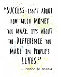 """Wall Art Print ~ MICHELLE OBAMA Famous Quote: 'Success....' (8""""×10"""")"""