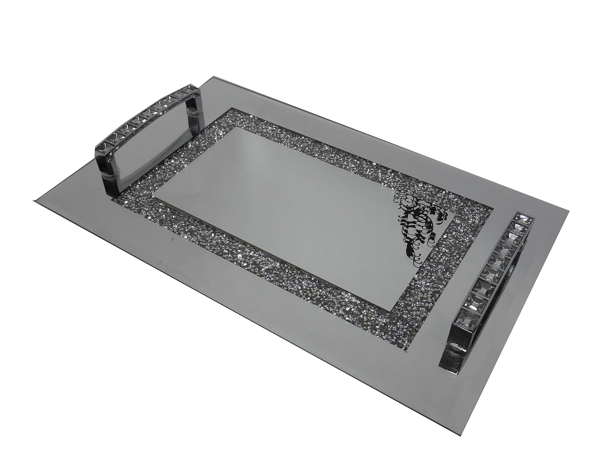 Mirrored Vanity Tray - Perfect for Perfumes, Facial Supplies, Soaps - Beaded Accents and Handles (Silver) by Homestyle