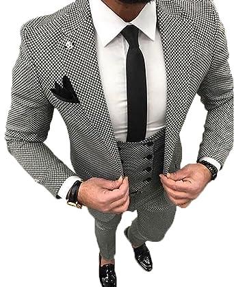 YSMO Herren Slim Schwarz Check 3 Stück Anzüge One Button Blazer Jacke    Weste   Hose 59347203da