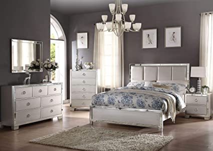Terrific Amazon Com Acme Voeville Platinum Mirrored Bedroom Set Download Free Architecture Designs Scobabritishbridgeorg