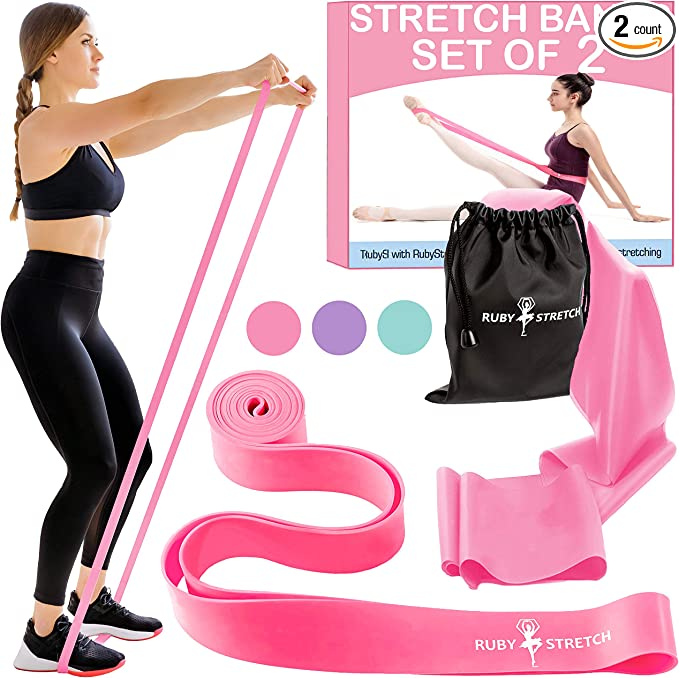 Strength Colors and Sizes for Kids /& Adults Printed Instruction Booklet and Travel Bag The PlumBand Stretch Band for Dance and Ballet and Flexibility with Stretching Improve Your Splits